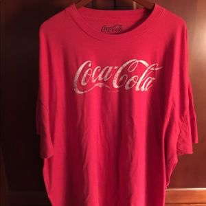 Men's Big and Tall Red Coca Cola logo  Tee 4xl